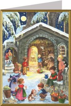 Julkort, snöigt m barn och djur