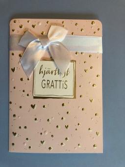 Hjärtligt GRATTIS, rosa m guldprickar