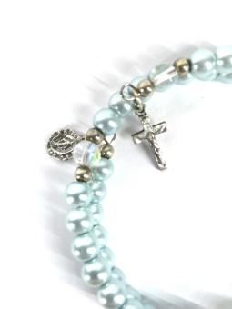 Rosenkransarmband, ljusblått