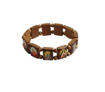 Helgon-armband, trä, kantigt (natur)