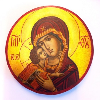 Ömhetens Gudsmoder (15cm), rund äkta ikon