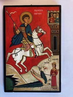Sankt Göran och draken, svart kant (20x30), äkta ikon