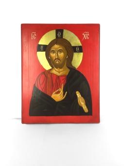 Kristus med bokrulle, röd bakgrund