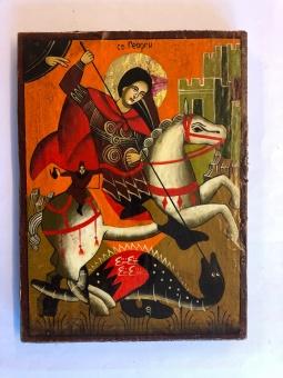 St Göran och draken, med figur (16x21), äkta ikon