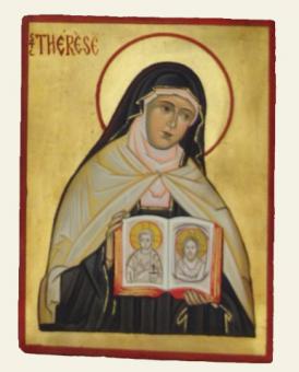 Lilla Thérèse av Lisieux m rosa dok (15x20), äkta ikon