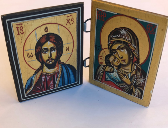 Kristus + Maria & Jesusbarnet (Diptyk, 6x7cm), äkta ikon