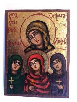 Visheten m döttrarna Tro, Hopp & Kärlek (12x16), äkta ikon