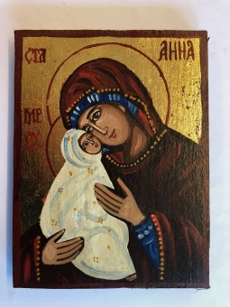 Hl. Anna & Maria som baby (12x16), äkta ikon