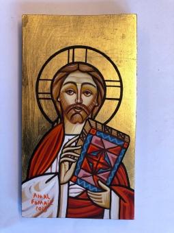 Kristus Allhärskaren / Pantokrator (8x22), koptisk äkta ikon