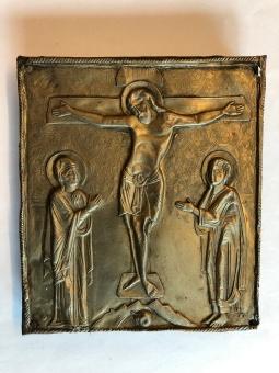 Korsfästelsen, metallrelief (12x13), äkta ikon