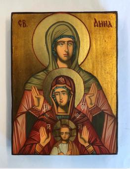 Hl. Anna själv tredje (12x17), äkta ikon