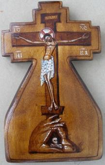 Korsfästelsen som korsikon (10x16), äkta ikon