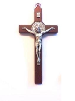 Benedictus-krucifix, 20cm, mörkt trä