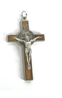 Benedictus-krucifix, 8cm, olivträ/silverfärgad