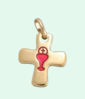 Berlock, kors, guldfärgat m röd kalk & hostia