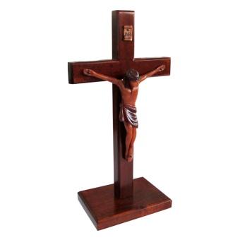 Stående krucifix, mahogny, L (25 cm)