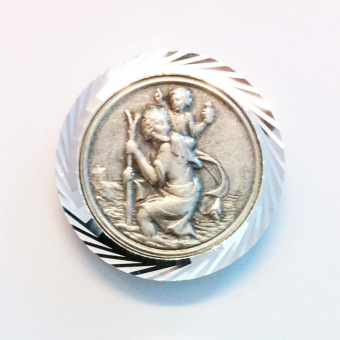 Kristoffer-magnet, silverf, räfflad kant
