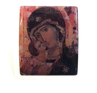 Maria & Jesusbarn (kantigt klistermärke)