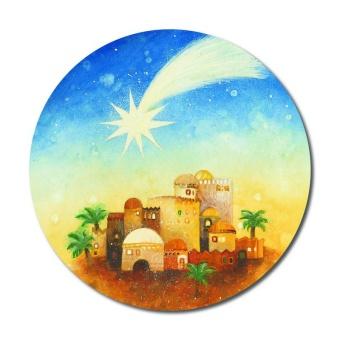 Stjärnan över Betlehem, rund magnet, ca 6cm, modern