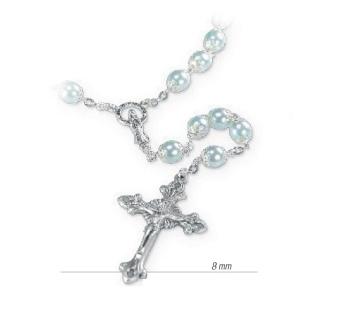 Kronrosenkrans silverfärgad, ljusblå pärlor