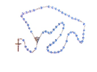 Rosenkrans blå glas, runda pärlor