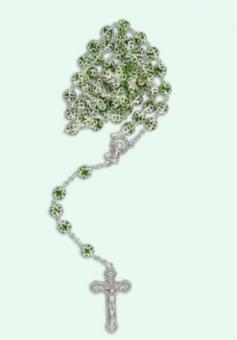 Glas-rosenkrans, gröna metall-infattade pärlor