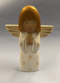 Hanna (stående ängel), 20 cm, vit+guldfärg