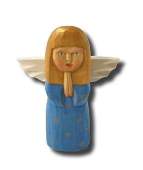 Hanna (stående ängel), 20 cm, blå+guldfärg