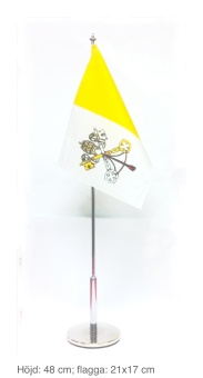Vatikanflagga, bord, metallstång & -fot