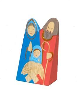 Josef med familj, trä, 13 cm, blå+röd