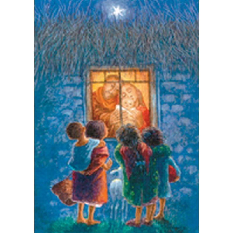 Julkort, Heliga Familjen i fönstret