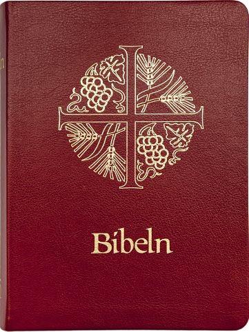 Bibeln 2000, halvmjukt band, mörkrött konstskinn