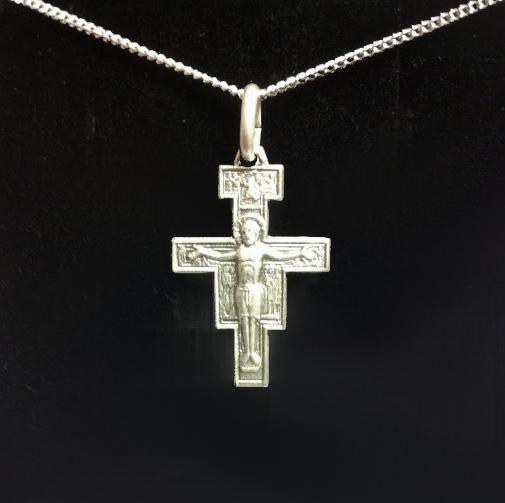 San Damiano-kors, silver inkl kedja