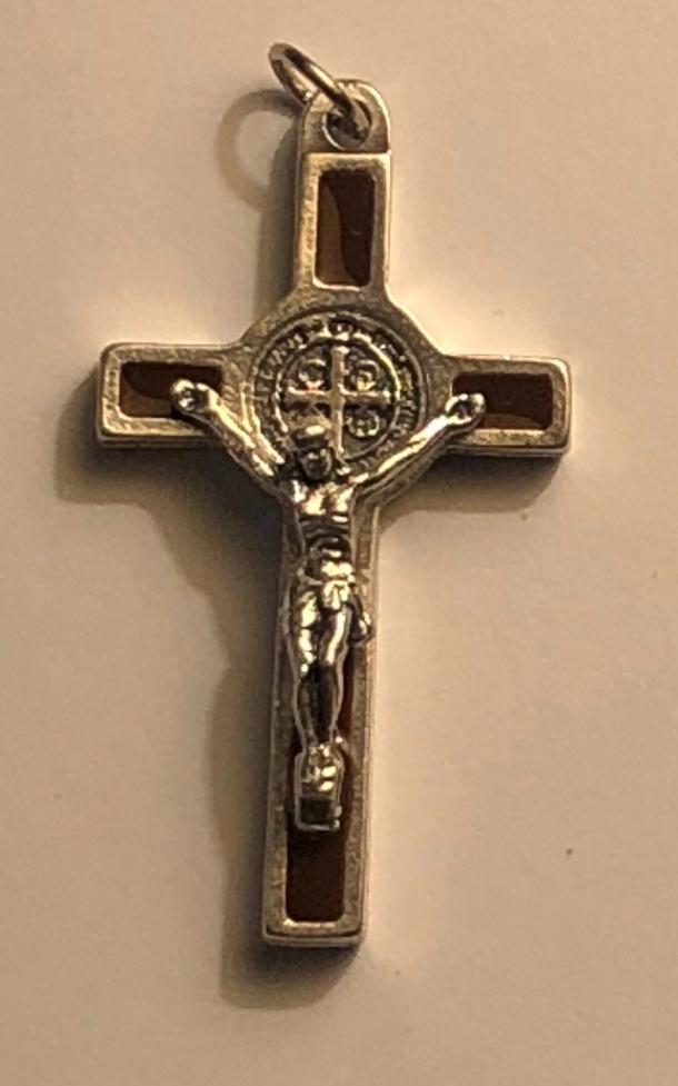 Benedictus-krucifix, 4cm, brun- o silverfärgad