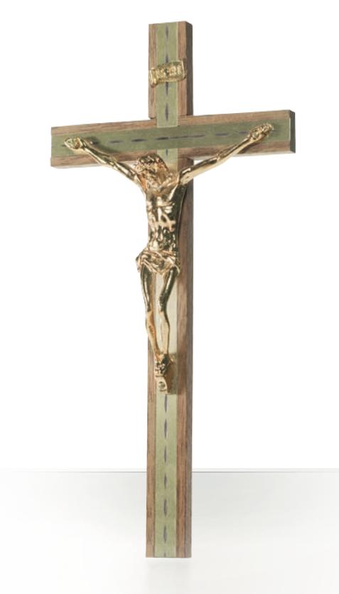 Krucifix trä/guldfärg