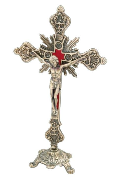 Utsirat krucifix, 23cm, stående, mässingsfärgat