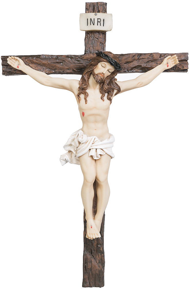 Krucifix, målat, 34x23cm