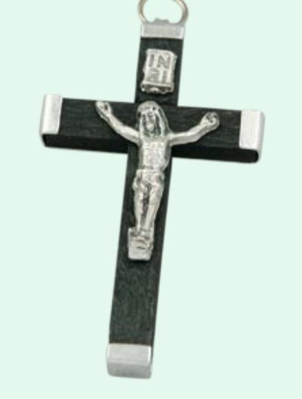 Latinskt kors, ca 35mm, svart trä o metall