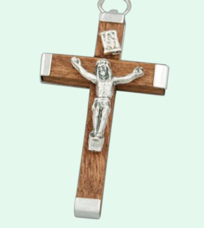 Latinskt kors, ca 45mm, brunt trä o metall