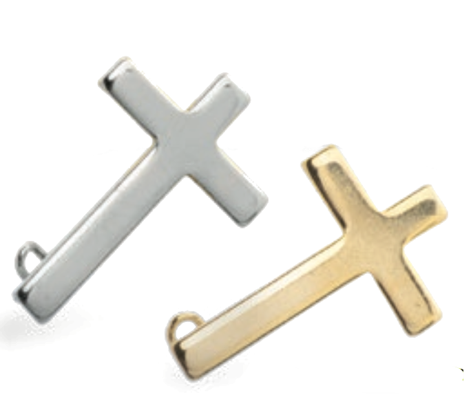 Pin: Kors m säkerhetsnål, silverfärgat