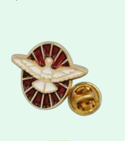 Pin: Helige Ande, röd + guldig