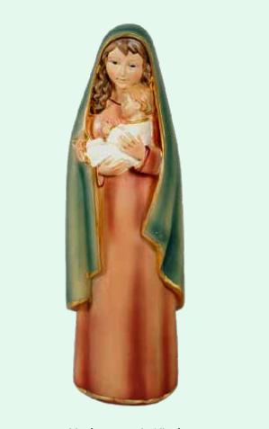 Madonna med barn, målad (20 cm)