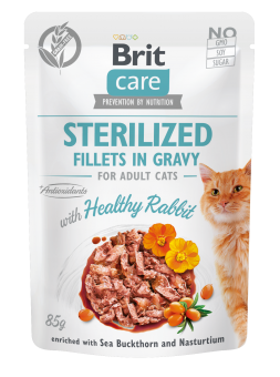 Brit Care Cat Pouch, Fillets in Gravy with Rabbit for Sterilized  85 g