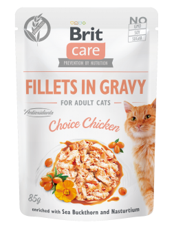 Brit Care Cat Pouch, Fillets in Gravy with Chicken  85 g