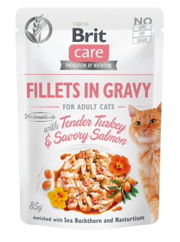 Brit Care Cat Pouch, Fillets in Gravy with Turkey & Salmon 85 g