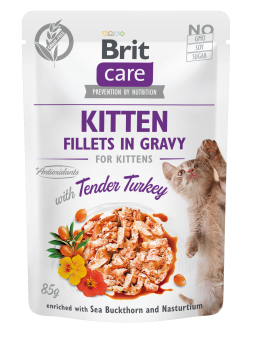Brit Care Cat Pouch, Fillets in Gravy with Turkey for Kitten 85 g