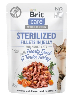 Brit Care Cat Pouch, Fillets in Jelly with Duck & Turkey for Sterilized 85 g