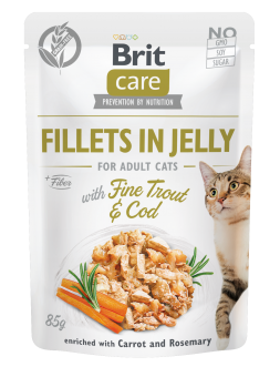 Brit Care Cat Pouch, Fillets in Jelly with Trout & Cod  85 g