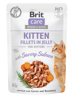 Brit Care Cat Pouch, Fillets in Jelly with Salmon for Kitten 85 g
