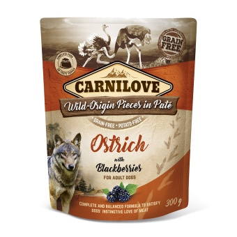 Carnilove Dog Pouch Paté Ostrich with Blackberries 300 g